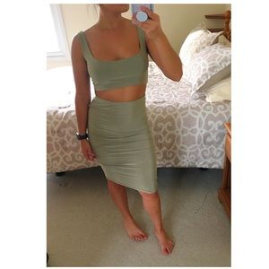 Safe Green Skirt and Matching Crop Top